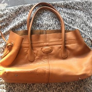 Tod's D-Bag 2005 tan beaten leather tote flaw nice